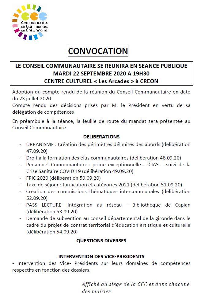"""Le conseil communautaire se réunira en séance publique le mardi 22 septembre 2020 à 19h30 - Centre Culture """"Les Arcades"""" à Créon"""